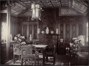 House in Peking, China — Dining Room [Chinese porcelain vases on display]