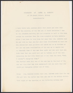 Sacco-Vanzetti Case Records, 1920-1928. Defense Papers. Deposition: Barstow, Laura A., n.d. Box 13, Folder 19, Harvard Law School Library, Historical & Special Collections