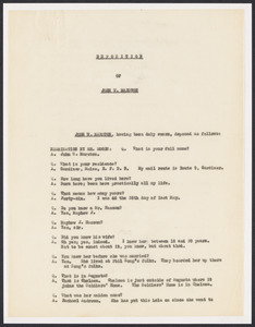 Sacco-Vanzetti Case Records, 1920-1928. Defense Papers. Deposition: Maine Depositions, 1922. Box 13, Folder 29, Harvard Law School Library, Historical & Special Collections