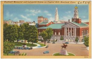 Bushnell Memorial and Lafayette Statue on Capitol Hill, Hartford, Conn.