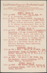 LICBC program schedule for the week of March 14, 1949