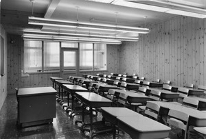 Classroom with wood paneling
