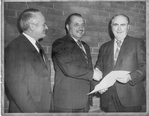 President Gregory Adamian receives charter, 1971