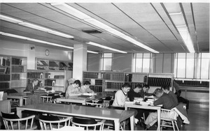 Male students studying in Bentley Library