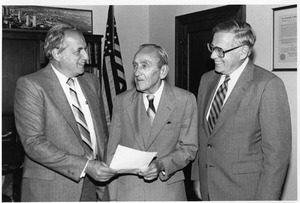 Gregory Adamian, Henry Rauch, and George Phalen at Rauch donation