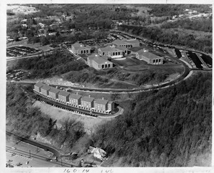 Aerial view of Waltham campus in 1968