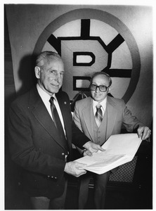 Bruins' Milt Schmidt and accountant Paul Germani
