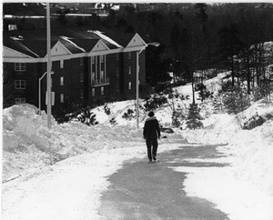 Person walks down College Road after Blizzard of '78