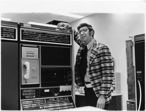 Professor Stephen Klein with early computing system