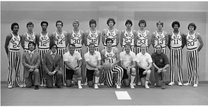 Close-up portrait of Bentley College basketball team ca. 1980's