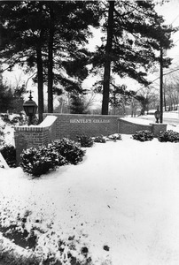 Bentley College sign in snow