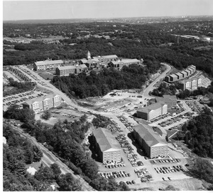 Aerial view of campus with Collins Hall under construction