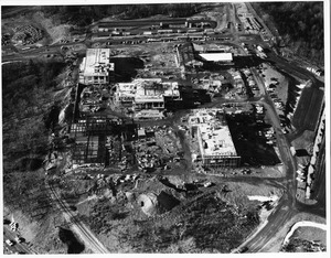 Aerial view of original Waltham campus under construction