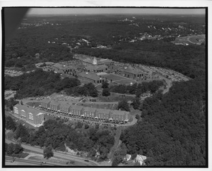 Aerial view of Waltham campus from Beaver Street