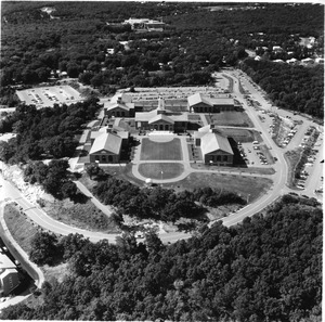 Aerial view of original Waltham campus