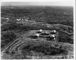 Aerial view of campus with Boston in the distance