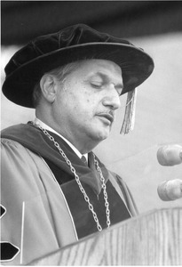 President Gregory Adamian speaking at Commencement ca 1980's