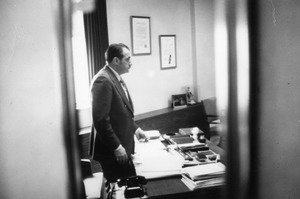 President Gregory Adamian at his desk ca 1970's