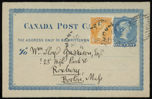 Postcard from Philip Pearsall Carpenter, Montreal, [Canada], to William Lloyd Garrison, Ap[ril] 12, [1874]