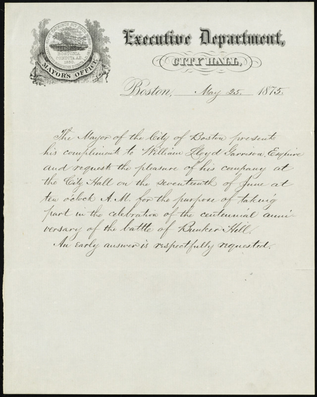 Invitation from Samuel Crocker Cobb, Mayor's Office, Executive Department, City Hall, Boston, [Mass.], to William Lloyd Garrison, May 25, 1875