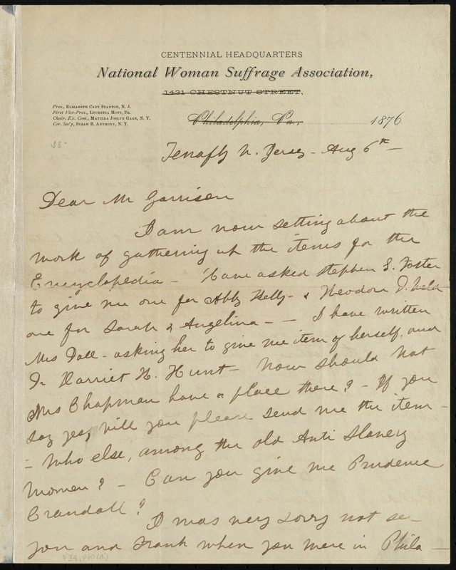 Letter from Susan Brownell Anthony, Tenafly, N[ew] Jersey, to William Lloyd Garrison, Aug. 6th, 1876