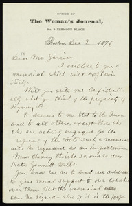 Letter from Lucy Stone, Office of The Woman's Journal, No. 3 Tremont Place, Boston, [Mass.], to William Lloyd Garrison, Dec. 2, 1876