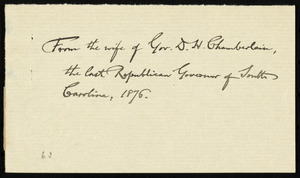 Letter from Alice Ingersoll Chamberlain, Columbia, S.C., to William Lloyd Garrison, Dec. 26, 1876