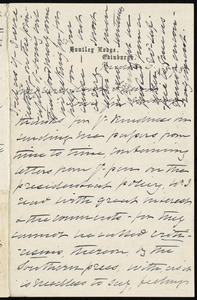 Letter from Elizabeth Pease Nichol, Huntley Lodge, Edinburgh, [Scotland], to William Lloyd Garrison, March 6, 1878