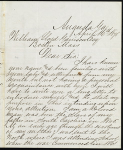 Letter from Edwin Belcher, Augusta, Ga, to William Lloyd Garrison, April 16th, 1878