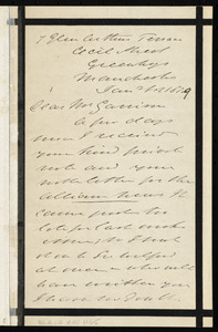 Letter from Thomas Holliday Barker, 7 Glen Cutters(?) Terrace, Cecil Street, Greenheys, Manchester, [England], to William Lloyd Garrison, Jan 1st, 1879