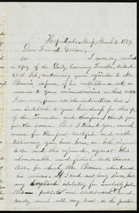 Letter from Adin Ballou, Hopedale, Mass, to William Lloyd Garrison, March 4, 1879
