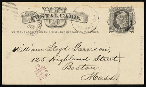 Postcard from Jehiel Claflin to William Lloyd Garrison, March 4, 1879