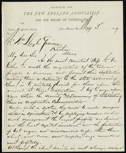 Letter from Charles E. Buell, Office of the New England Association for the Relief of Unemployed, New Haven, Conn, to William Lloyd Garrison, May 3, 1879