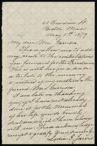 Letter from Lydia G. Jarvis, 40 Bowdoin St., Boston, Mass, to William Lloyd Garrison, May 5th, 1879