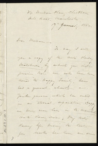 Letter from Frederick William Chesson, Cheetham Hill Road, Manchester, [England], to Maria Weston Chapman, 17th January 1854