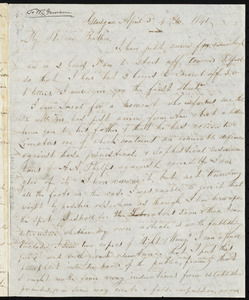 Letter from John Anderson Collins, Glasgow, [Scotland], to William Lloyd Garrison, April 3'd, 4 P.M., 1841