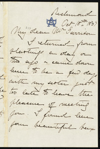 Letter from Anne Greene Chapman Dicey, Richmond, to William Lloyd Garrison, Oct. 18th, 1867