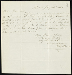 Letter from Aaron Cooley, Boston, [Mass.], to William Lloyd Garrison, July 22'd, 1868