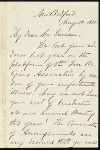 Letter from William James Potter, New Bedford, to William Lloyd Garrison, May 10, 1871