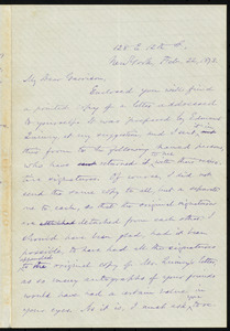 Letter from Oliver Johnson, 128 E. 12th St., New York, [N.Y.], to William Lloyd Garrison, Feb. 22, 1873