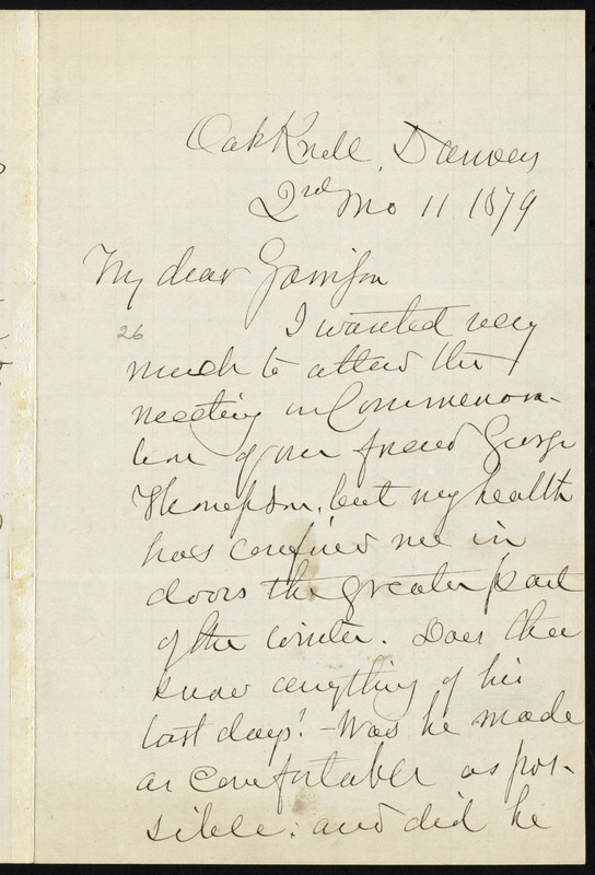 Letter from John Greenleaf Whittier, Oak Knoll, Danvers, [Mass.], to William Lloyd Garrison, 2nd mo[nth] 11 [day] 1879