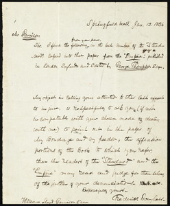 Letter from Frederick Douglass, Springfield, Mass, to William Lloyd Garrison, Jan. 13, 1856