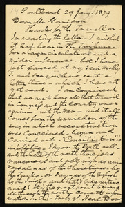 Postcard from Neal Dow, Portland, [Maine], to William Lloyd Garrison, 29 Jan'y 1879