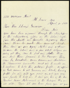 Letter from Moses Dickson, 1211 Morgan Street, St. Louis, Mo, to William Lloyd Garrison, April 10, 1879
