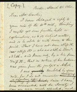 Copy of letter from Samuel May, Boston, to Henry Wadsworth Carter, March 31, 1860