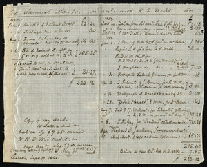 Copy of a financial account from Samuel May, Leicester, Mass, to Richard Davis Webb, Sept. 17 1860