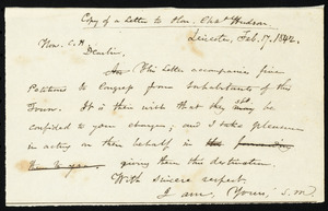 Copy of letter from Samuel May, Leicester, [Mass.], to Charles Hudson, Feb. 17. 1842