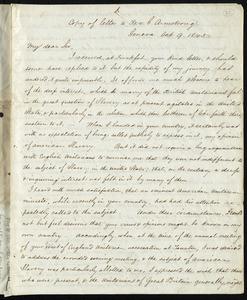 Copy of letter from Samuel May, Geneva, to George Armstrong, Oct. 9 1843