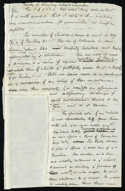 Draft of a letter from Saumuel May replying to Sunday school circular