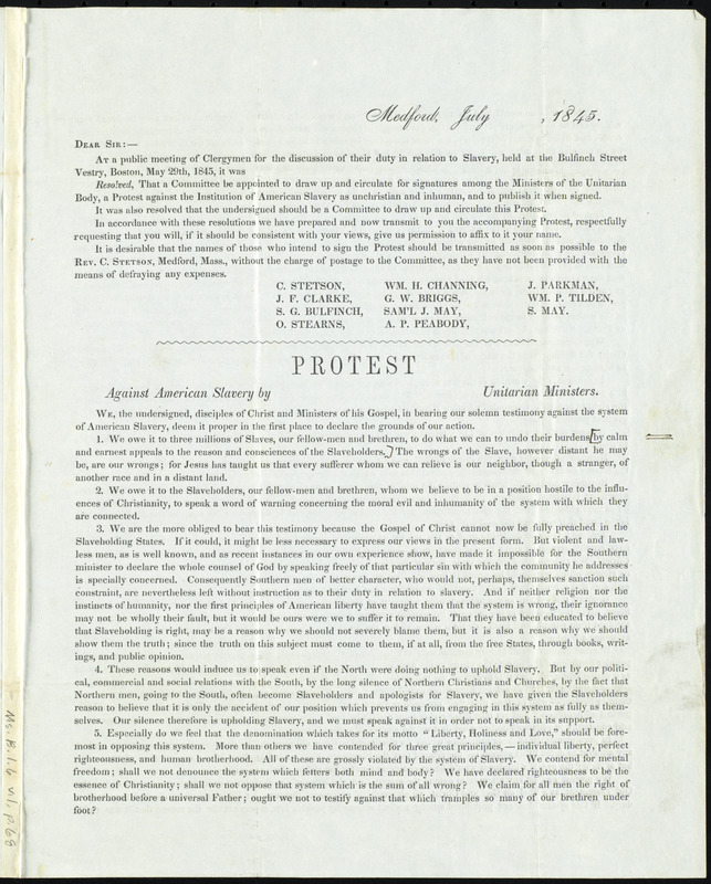 Letter from Caleb Stetson, Medford, [Mass.], to Samuel May, July, 1845